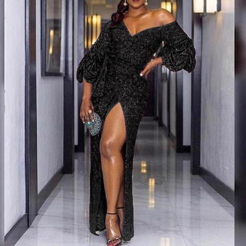 Fashion Elegant Side Slit V-neck Pleated Sleeve Maxi Dress