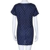 Summer New Fashion Pregnant Woman Wave Short Sleeve  Multi-function Dress Fashion  Daily Dress