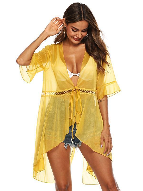 Sexy Solid See-through Lace-up Beach Cover-Up