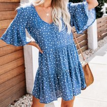 Summer Deep V-Neck Polka Dot Printed Wrinkle Dress