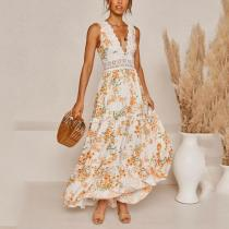 V-neck sleeveless lace stitching floral print dress