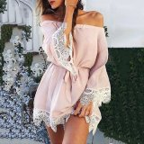 Sexy Off Shoulder Splicing Long Sleeves Mini Dress