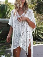 Loose Hollow Vacation Half Sleeve V Neck Beach Cover-Ups