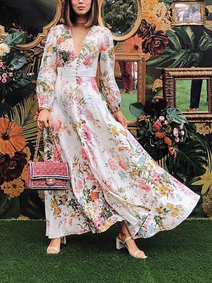 Elegant Deep V Neck Printed Colour Dress