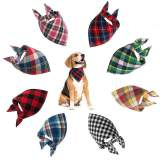 Classic Pet Dog Bandana Lattice Cotton Bandana for Small Large Dog Bibs Scarf Washable Kerchief Bow Tie Pet Grooming Accessories