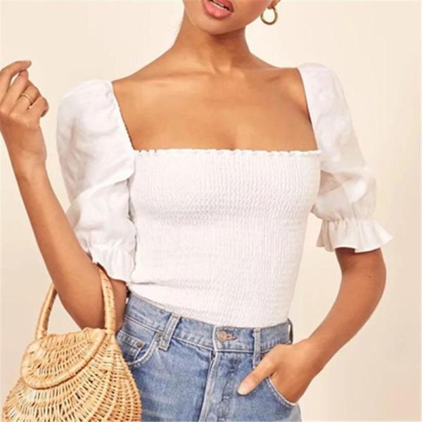 French Elastic Pleated Top Square Collar Blouses