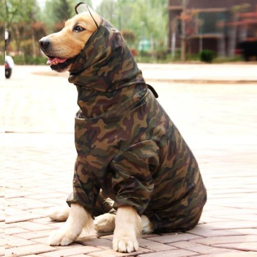 Pet Dog Camouflage Raincoat For Big Dogs Waterproof Outdoor Clothes Hooded Rain Cloak Jumpsuit French Bulldog Overalls Labrador