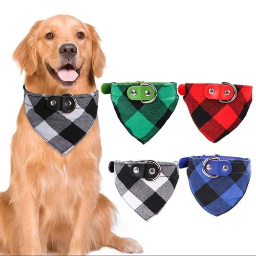 Adjustable Pet Bandana with Collar for Dog Cat Cotton Breathable Puppy Kerchief Bib Plaid Dog Scarf  Pet Accessories