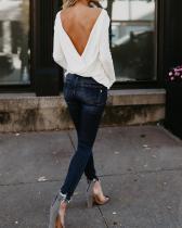 Fashion Plain Open Back Casual Top