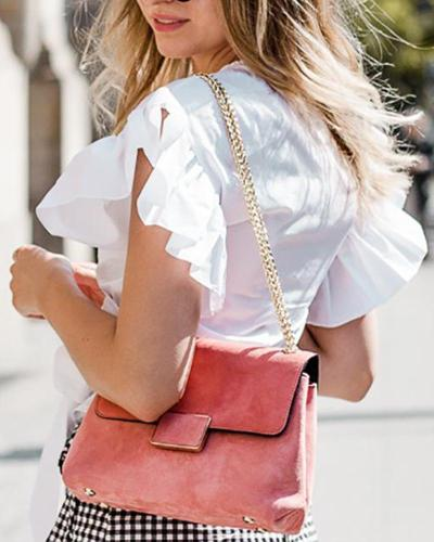 Solid V Neck Ruffle Top