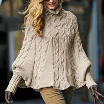 Fashion High-Neck Pure   Colour Knitwear