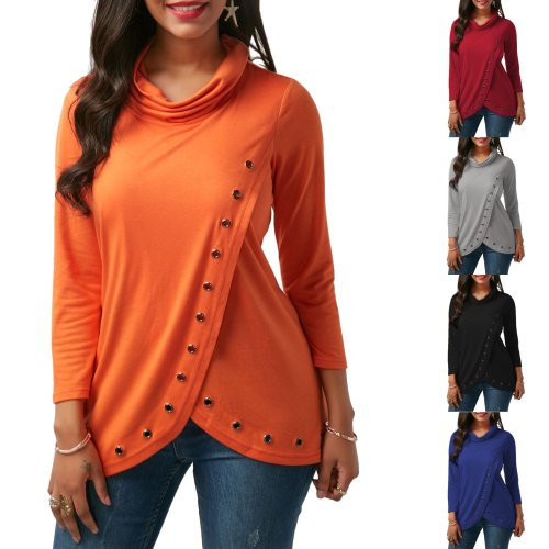 Long Sleeve High Neck Loose Pure Color Irregular Fashion Blouse