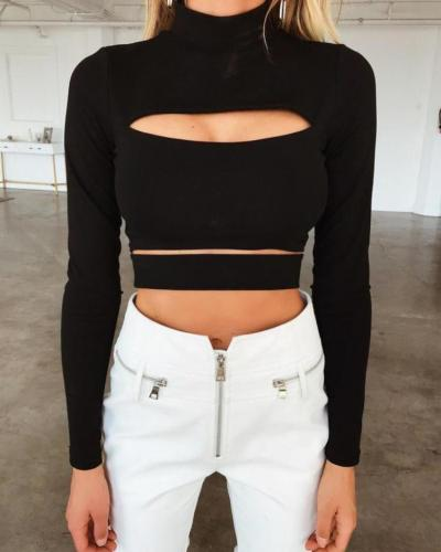 Solid Long Sleeve Cut Out Crop Top