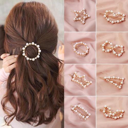 2020 Fashion Hair Clip Women Girls Elegant Design Triangular Star Round Barrette Stick Hairpin Hair Pins Ponytail Head Accessory