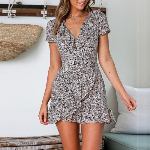 Stylish Casual Print V-Neck   Short-Sleeved Dress