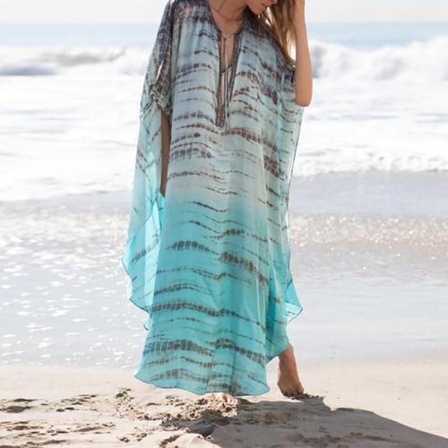 Fashion Chiffon Printed Colour Loose Beach Robe Dress