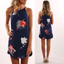 Spaghetti Straps Bear Shoulder Flower Print Short Dress