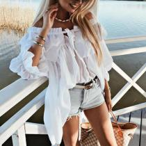 Casual Boat Neck Lace-Up Collar Ruffled Loose Blouse