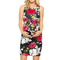 Summer New Fashion Elegant Women Pregnant Maternity Nursing Breastfeeding Sexy Floral Sleeveless Dress
