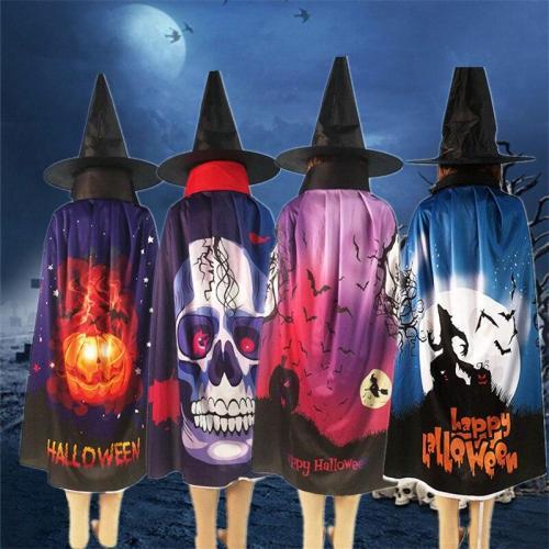 Halloween Cloak New Cosplay Costume Party Digital Printing  Pumpkin/ Skull /Bat /Ghost Pattern  Cloak Hat Set  80cm