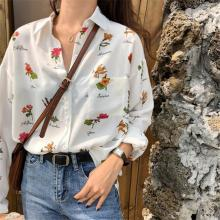 Casual Long-sleeved Shirt Floral Blouses Women Flower Print Blouse Loose White Shirts