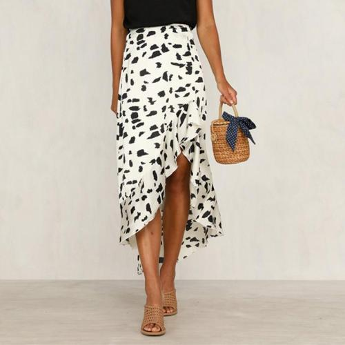 Sexy Print Irregular Flounces Skirt