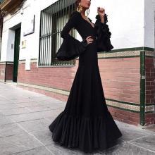 Retro Elegant Long Sleeve V-Neck Wrinkle Evening Dress