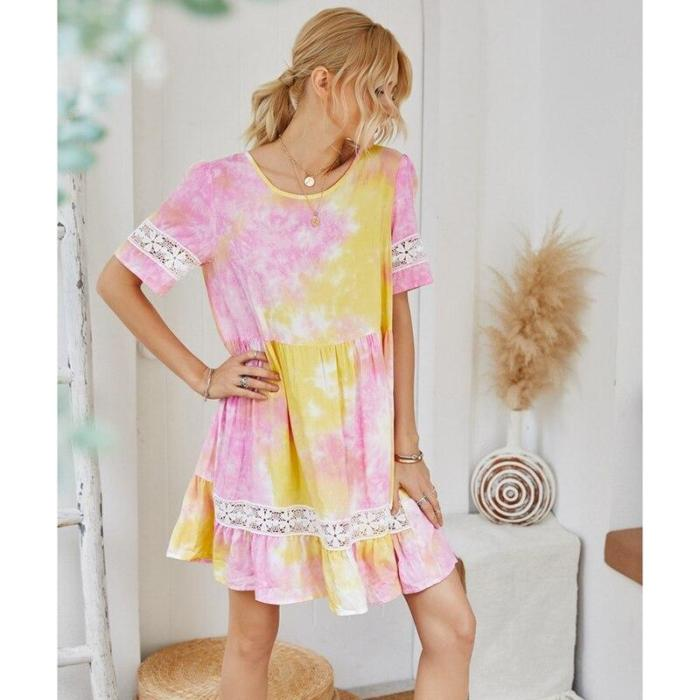 Fashion Lace Dress Womens Summer New Holiday Summer Tie-Dye Pleated Jacquard Vintage Dress