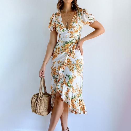 Sexy V-neck floral dress