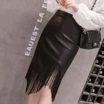 Fashion PU Tassel Wrapped Hip Skirt