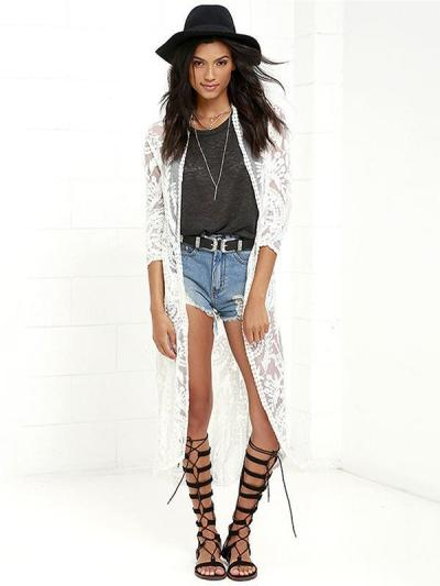 Lace Embroidered Vacation Sun-protection Cover-up