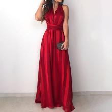 Summer Women Elegant Boho Long Party Dress Female Gradient Stripes V-Neck Sleeveless Tunic Maxi Dress