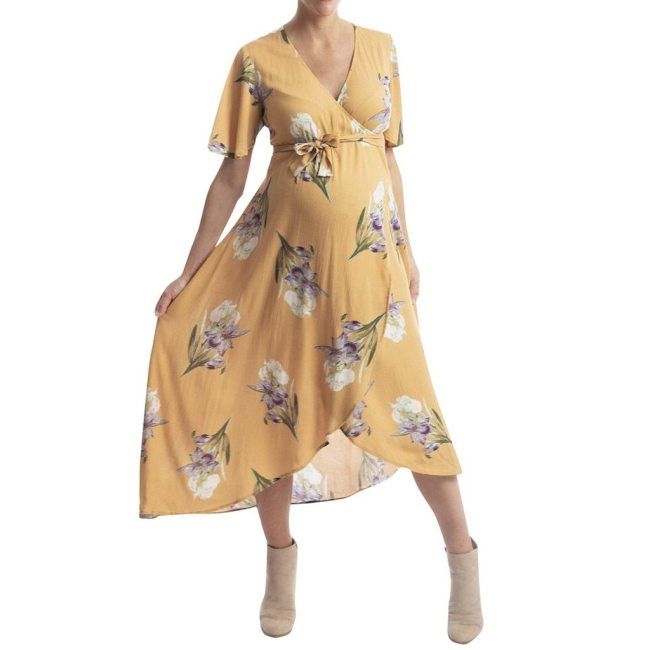 Summer New Fashion Women Short sleeve Pregnant Maternity Dress Floral Print Sundress
