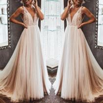 Fashion Deep V Sleeveless Sexy   Dress