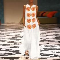 Cotton/Linen V-Neck Sleeveless Printed Maxi Dress