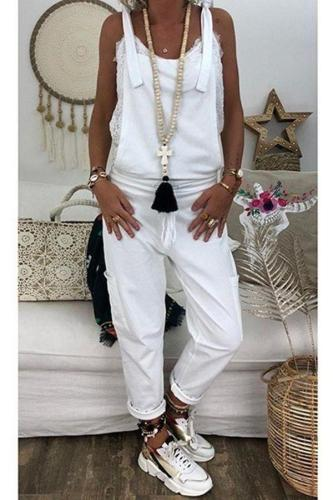 EBUYTIDE Fashion Pure White Slim Fit Sling Jumpsuit