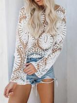 Sexy Round Neck Lace Hollow Out T-Shirt