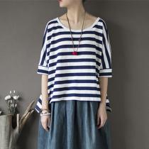 Blue and White Striped Cotton T Shirt