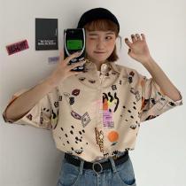 Women Blouse Summer Turn-down Collar Short Sleeve Casual Loose Shirts