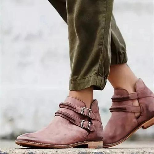 Large Size Buckle Low Heel Boots