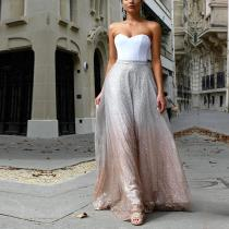 Fashion Sequined Tube Top Evening Dress