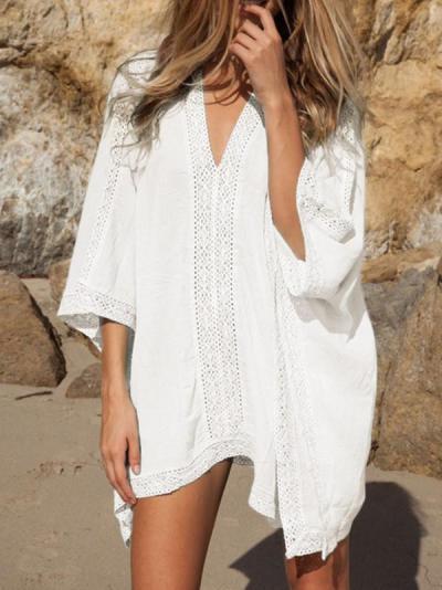 V-Neck White Blue Cotton Blend Mini Cover-Up Swimwear Dress
