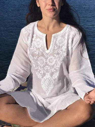 Fashion V-neck Loose Cotton Embroidered Cover-up Swimwear
