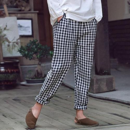 Elastic Waist Cotton Plaid Vintage Pants