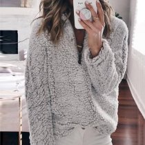 Loose Stand-Up Zipper Long-Sleeved Sweater