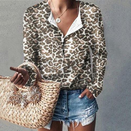 Women's Casual Single-breasted Leopard Print Long Sleeve Blouse