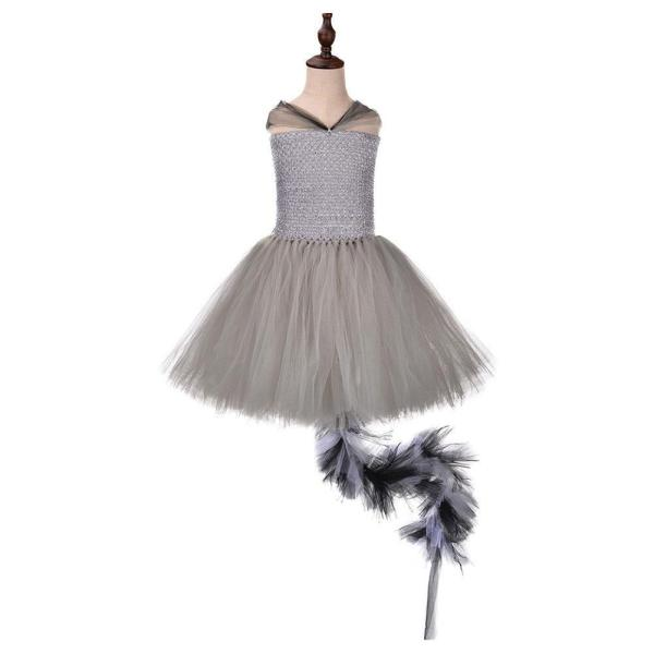 Kids Girls Halloween Rocket Raccoon Costume Halloween Birthday Woodland Critter Cosplay Tutu Dress