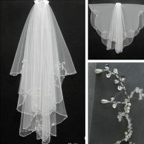 Women Bridal Veil Velos De Novia Free Shipping White/Ivory Tulle Short Wedding Veil With Combe Sequin Beaded 2 Layers