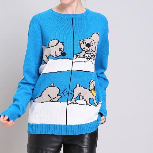 Christmas Blue Cartoon Print Sweater