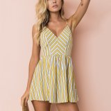 Sexy Sling Backless Yellow Striped Siamese Shorts